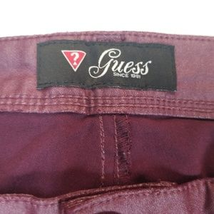 Guess Jeans - 29 GUESS burgundy red skinny coated jegging jeans